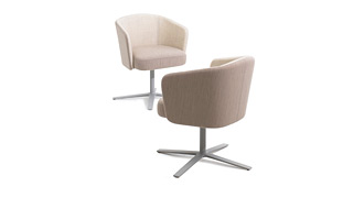 Hay Swivel Upholstered Armchairs on Flat 4 Star Base