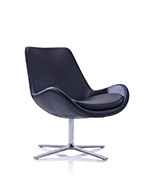 Avi Leather Chair on Low Swivel Base