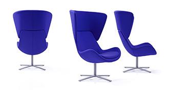 Avi Upholstered Chair on High Swivel Base